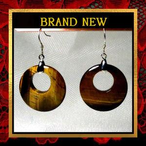 Golden Amber Tigereye Gemstone Earrings #004